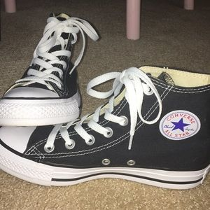 black & white high top converse